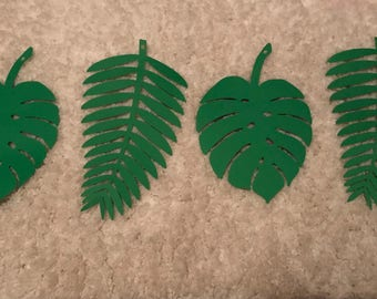 Jungle Leaves - Pack of 12 - Two Types - Pre-Hole Punched - 12 ft Jute String Included