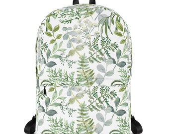 Leaf Printed Backpack, Floral Bag, Forest Backpack, Birthday Gift, Green Canvas Backpack, watercolor