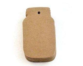 50 barattolo di vetro a forma di Die Cut Paper Tags in Kraft