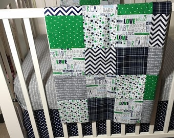 Plaid Crib Bedding Set, Navy Crib Bedding Sets, Boy Bedding Crib Sets, Navy Green Crib Bedding, Baby Boy Shower Gift, Patchwork Baby Quilt