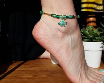 Elastic ankle with Angelfish charm bracelet and pearls, glass, turquoise/Anklet angelfish