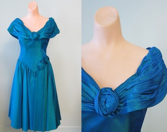 Vintage 1980's Electric Blue Zum Zum Dress