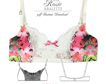 DIGITAL Lingerie Sewing Pattern - Rosie Bra Sewing Pattern - pdf instant download E3001 from EVIE la LUVE