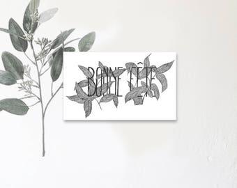 Bonne Fête - Carte illustrée avec message - Dessin à la main - Camélia - feuillage - tirage limité - monocotylédone
