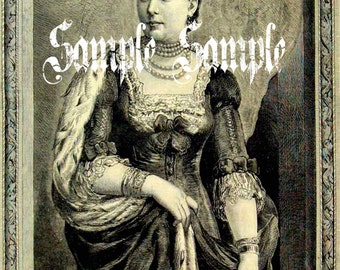 VINTAGE photo DIGITAL instant download QUEEN iLLustration Printable Antique Photograph Victorian Beautiful Woman Princess Queen Art Print