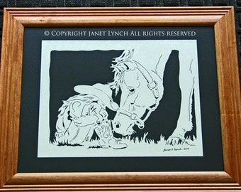 Cow Girl With Horse - Scherenschnitte - Hand Paper Cutting Art signed and dated By Janet Lynch -11x14 Framed