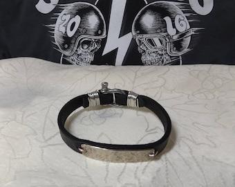 Casual Hand Hammered Men's Black Leather Bracelet