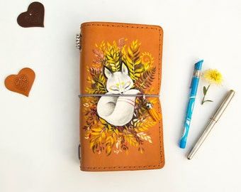 Travellers Notebook Leather Journal Hand Painted Little Fox Natural Leather Standard Size Notebook 3 Inserts 192 Pages