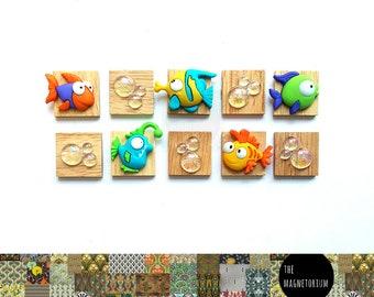 Bubble Fish Magnets [Fridge Magnets, Fridge Magnet Sets, Refrigerator Magnets, Magnet Sets, Office Decor, Kitchen Decor, Magnetic Board]