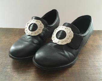 Black Leather Shoes Norwegian Bunad Children's Shoes with Metal Buckle Boys Girls Norwegian Traditional Costumes Size EU36