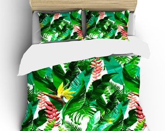 Custom Tropical Flowers Bedding -  Designer Inspired Green Palms and flowers in tropical theme