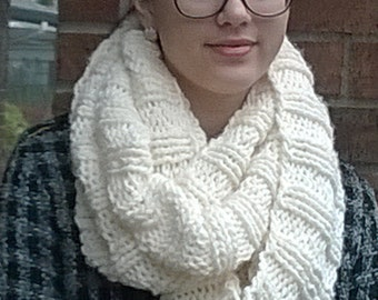Hand knit infinity cowl scarf