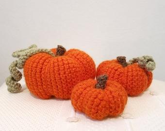 MADE to ORDER - Amigurumi Pumpkin Patch - Set of three crochet pumpkins, halloween decor, Fall orange pumpkin plush, jack o lantern
