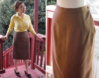 "TRUFFLE 1950's 60's Vintage Brown Wool Blend Straight Pencil Skirt w/ Kick Pleat // size Medium W 29"" // Handmade"