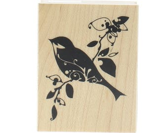 Inkadinkado Silhouette Bird Flourish on a Branch Wooden Rubber Stamp