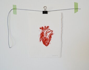 Atomic heart, linocut