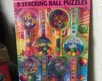 Vintage Lisa Frank Party Favors 8 Stacking Ball Puzzles Unopened