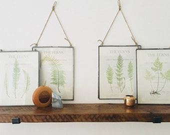 "9.5"" DEEP BY....Reclaimed Wood Shelves With 2 Handmade Steel Shelf Brackets, Made to Order"