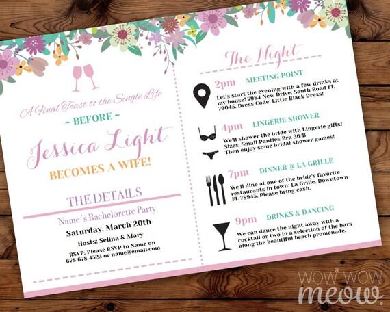 bachelorette itinerary invite party invitation bridal shower