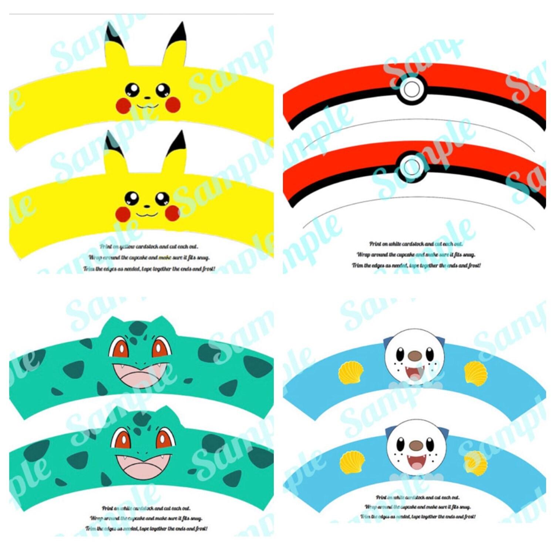 Pokemon 4 Pack Pikachu Pokeball Oshawott Bulbasaur Cupcake # Muebles Pokemon