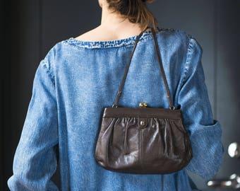 Handmade Purse Bag Finest Leather. Dark Brown Bag Ball Clasp. Classic Shoulder Bag Genuine Leather. Party Bag Retro Clutch. 80s Shoulder Bag
