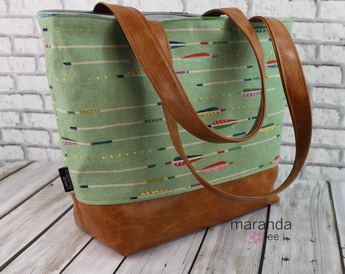 Lulu Large Tote Diaper Bag -Sage Arrows and PU Leather with Grey Lining - READY to SHIP