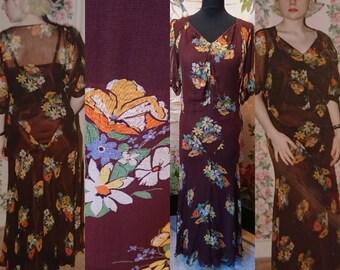 1930s, Chocolate Brown, Silk Chiffon Floral Tea Dress.