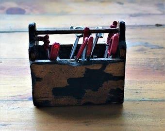 Miniature Tool Box, Fairy Garden, Dollhouse Miniatures, Fairy Accessories