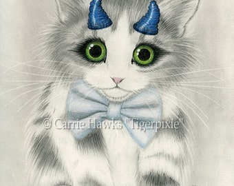 Cute Devil Kitten Little Blue Horns Big Eye Cat Art Gothic Fantasy Cat Art Print 12x16 Art For Cat Lovers Gift