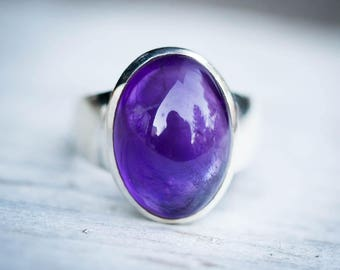 Amethyst Ring size 6-8.5 - Amethyst Cabochon Sterling Silver Ring Size 6-8.5 - Amethyst Ring - Purple Amethyst - February Birthstone