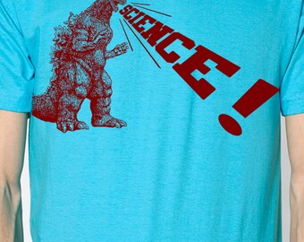 mens Godzilla Science t shirt- American Apparel turquoiose- available in S, M, L, XL, XXL- WorldWide Shipping