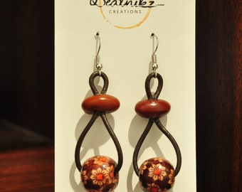 Retro Beaded Leather Earrings