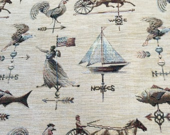 Upholstery Fabric by the yard Americana weather vanes motif chenille cushion pillow sofa fabric three yards