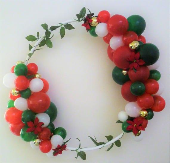 Christmas balloon frame garland wreath hula hoop diy kit red like this item solutioingenieria Gallery