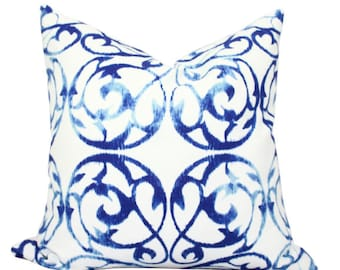 Cotton Pillow Cover with Front Gate Print in Sapphire. Blue and White Cotton Pillow Cover.