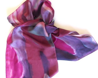 Silk Scarf, Hand designed, Purple, Grape Festival, Or Table Runner, 15x72 inches