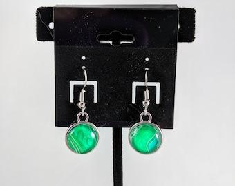 Green and White Circle Dangle Earrings