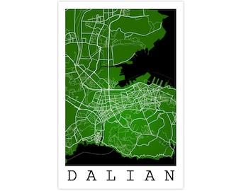 Dalian Street Map, Dalian China, Modern Art Print, Dalian Gift Idea, Dalian Map, Dalian Poster, Dalian Art, Dalian Decor, Office Decor