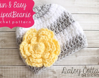 Easy Crochet Pattern, Striped Hat Pattern, Crochet Hat Pattern, Easy Beanie Pattern, Crochet Beanie Pattern