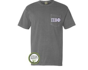 Pi Beta Phi Comfort Colors Pocket T-shirt, Embroider Pocket Shirt, Monogram Shirt, Sorority Shirt, Big Little Gift, Pocket Tee, Pi Phi