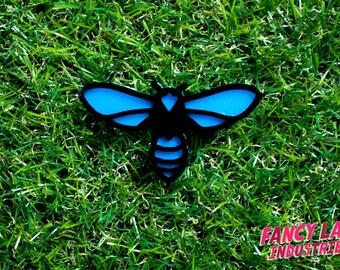 Black Flower Wasp Brooch, Blue Wasp, Laser Cut Brooch, Laser Cut Jewellery, Laser Cut Acrylic