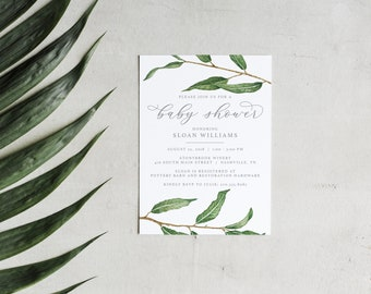 Baby Shower Invitation • Printable Watercolor Willow Branch Custom Baby Shower Invite • Unique Botanical Greenery Invite • Baby Shower Decor