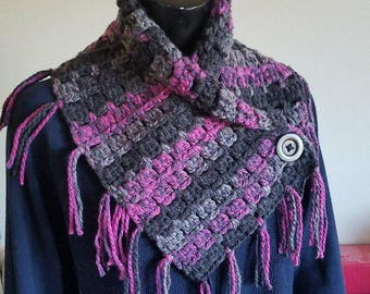 Hand Crocheted Fringed Button Cowl / Scarf Black Purple