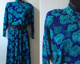 1980s floral dress, rose print dress, 80s blue dress, slouchy batwing, tapered wrists, mock turtleneck, turquoise, medium dress, large
