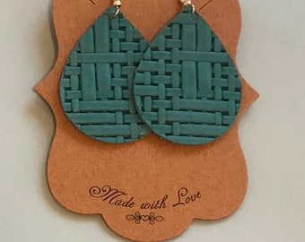 Teal basketweave leather earrings