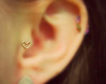 12k Gold Filled Heart Shaped Tragus Earring 20 gauge