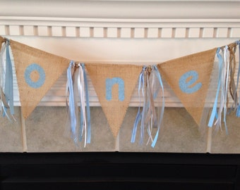 Burlap high chair banner, photo prop, birthday banner FREE card