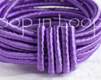 Purple SILK cord, Wrapped Silk Satin Cord rope 3.5 mm thick, organic natural hand spun silk, polyester core, for Jewelry