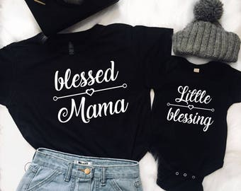Blessed Mama, Mommy and Me Outfits, Matching Shirts, Matching Outfits, Mother Daughter, Mother Son Shirt, Baby Shower Gift Mothers Day Gift