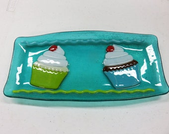 Cupcake Dish - Fused Glass Cupcake Tray - ON SALE - Ready to Ship